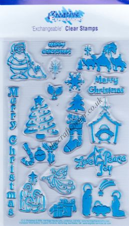 Christmas Designs & Greetings 17 Clear Unmounted Rubber Stamp Set